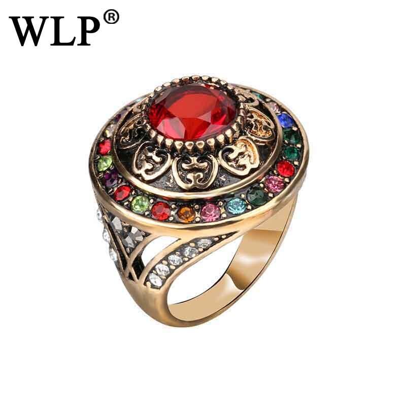 Wlp exagero grande estilo étnico do vintage anéis feminino design original clássico casamento & festa presente grande dedo anéis