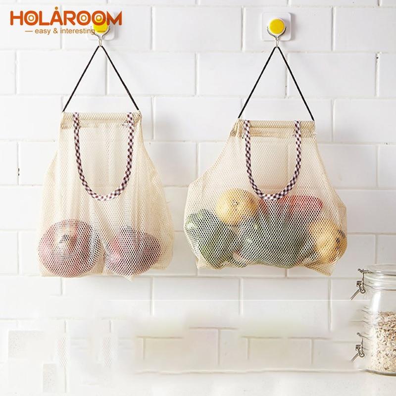 Hangable Storage Bag Reusable Vegetable Mesh Bags Practical Vegetables And Fruits Storage Pouch Kitchen Organize Supplies