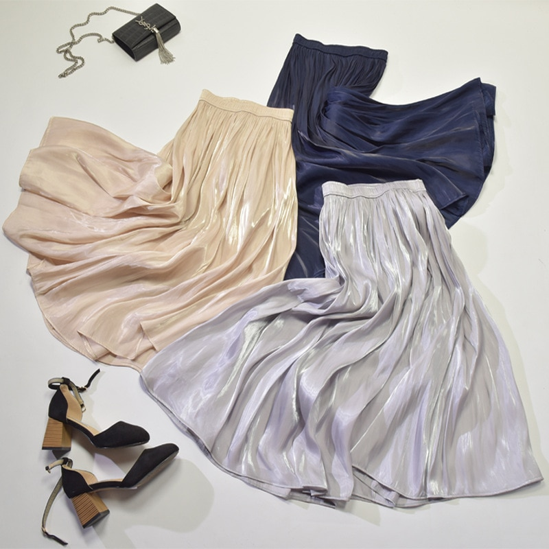 2018 Autumn Women's Skirt Office Lady Pleated Skirts 60-90cm Elastic Waist Pearl Luster Mid-calf Female Skirt High Quality