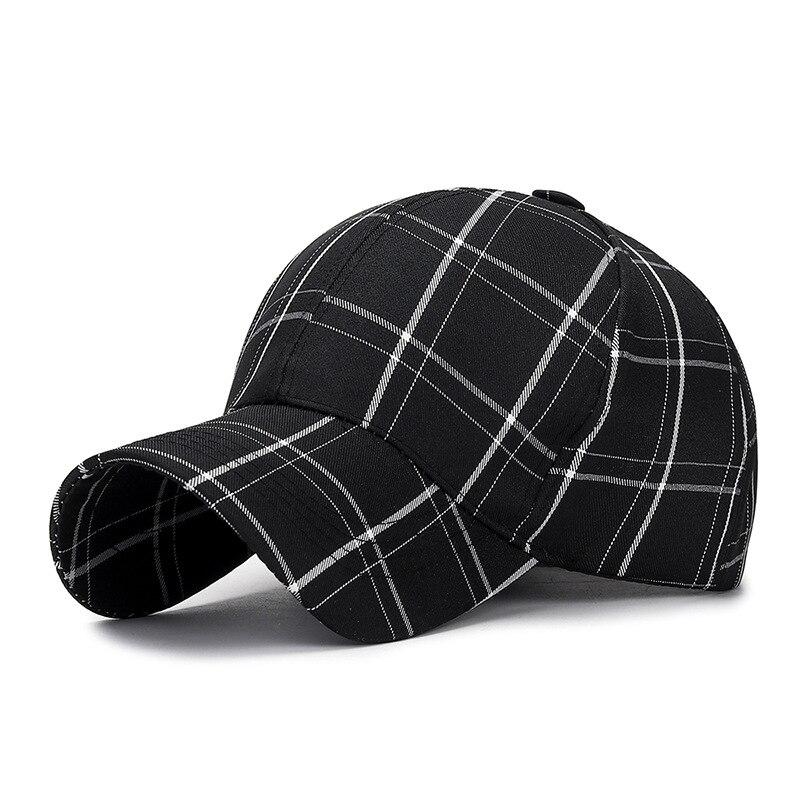 Gorra de béisbol a cuadros Vintage para hombres y mujeres con patrón a cuadros cuenta precurvada ajustable moda sombrero enrejado negro rosa