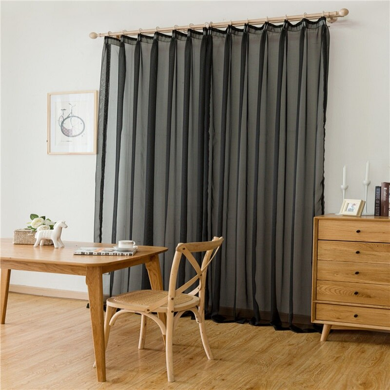Cor sólida tule cortina telas sheer cortinas para sala de estar moda tule cortinas varanda janela cortina feita sob encomenda