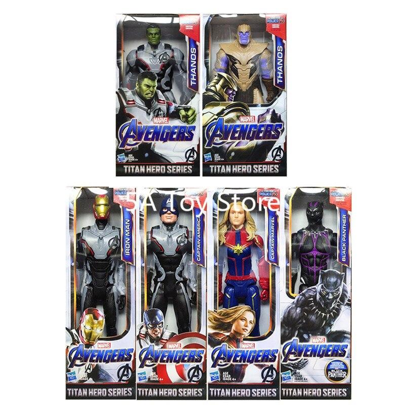"""12 """"Los Vengadores final Titan héroe serie capitán Marvel Thanos Pantera Negra Hulk Hombre de Hierro de Capitán América figura de acción juguetes muñecas"""