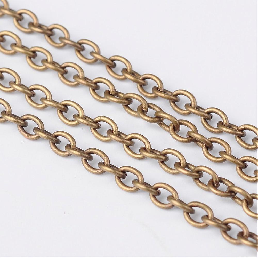 Iron Cross Chain, Antiek Brons, Come On Reel, Link 3x4mm, 0.7mm dik, 100 m/roll