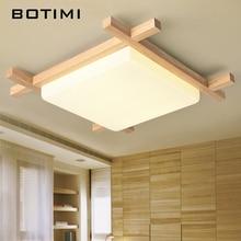 BOTIMI nordique LED plafonniers en bois de forme carrée lampara de techo pour chambre balcon couloir cuisine luminaires