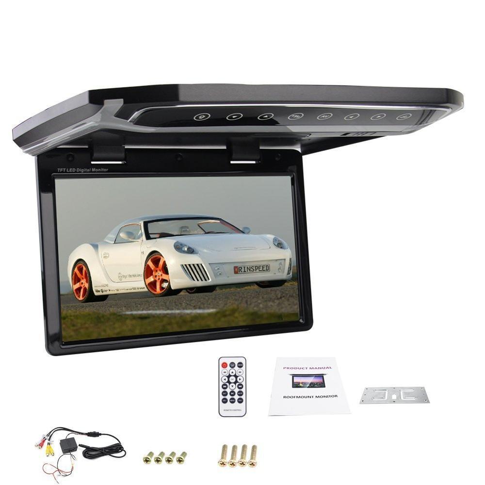 Monitor de montaje en techo abatible hacia abajo de 10,2 pulgadas, Monitor para coche aéreo con ENTRADA AV bidireccional, compatible con reproductor de vídeo, modulador de FM de entrada SD