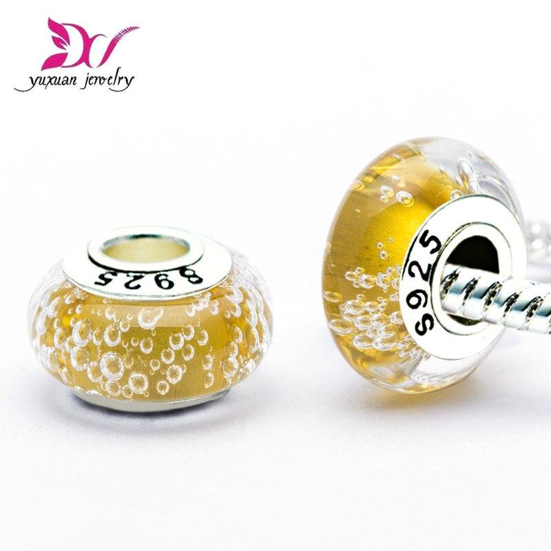 Amarillo de burbuja dije Murano adapta pulseras Original 925 Sterling cuentas de...