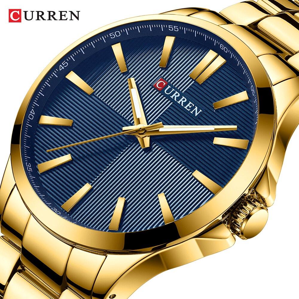 ساعة يد كوارتز فاخرة للرجال من كارين, ساعة رجالية كوارتز فاخرة من الإستانلس ستيل باللون الذهبي مقاومة للمياه لرجال الأعمال