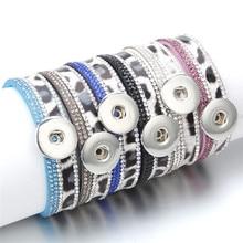 2019 New Snap Jewelry Leather Snap Button Bracelets 18mm Snap Bracelet Leopard Leather Rhinestone Bracelet For Women ZE561