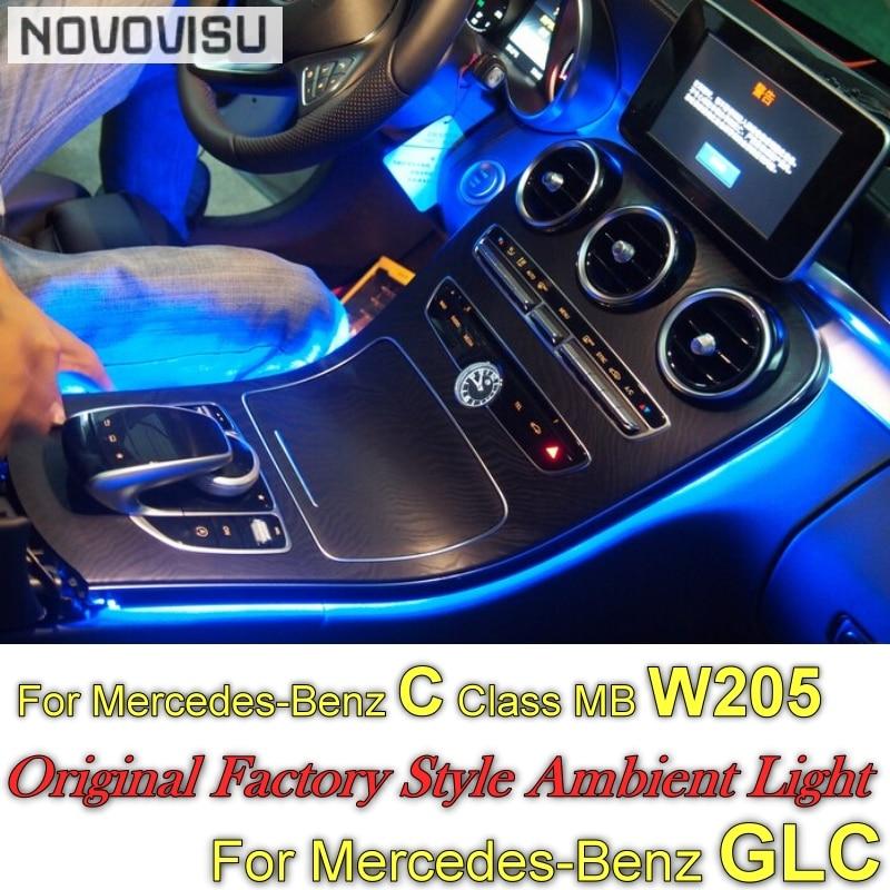 For Mercedes Benz C MB W205 GLC 2014~2020 Dashboard NOVOVISU Interior OEM Original Factory Atmosphere Advanced Ambient Light