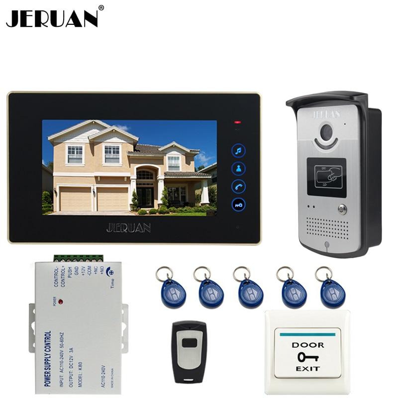 JERUAN táctil de 7 pulgadas clave pantalla a Color Video de la puerta del sistema de intercomunicación teléfono kit 1 Monitor + 700TVL acceso RFID IR noche cámara de visión