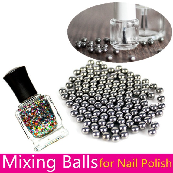 100pcs 6mm Stainless Steel Beads Nail Polish Mixing Balls Round Balls for Glitter Polish DIY Nail Lacquer Nail Art Tools