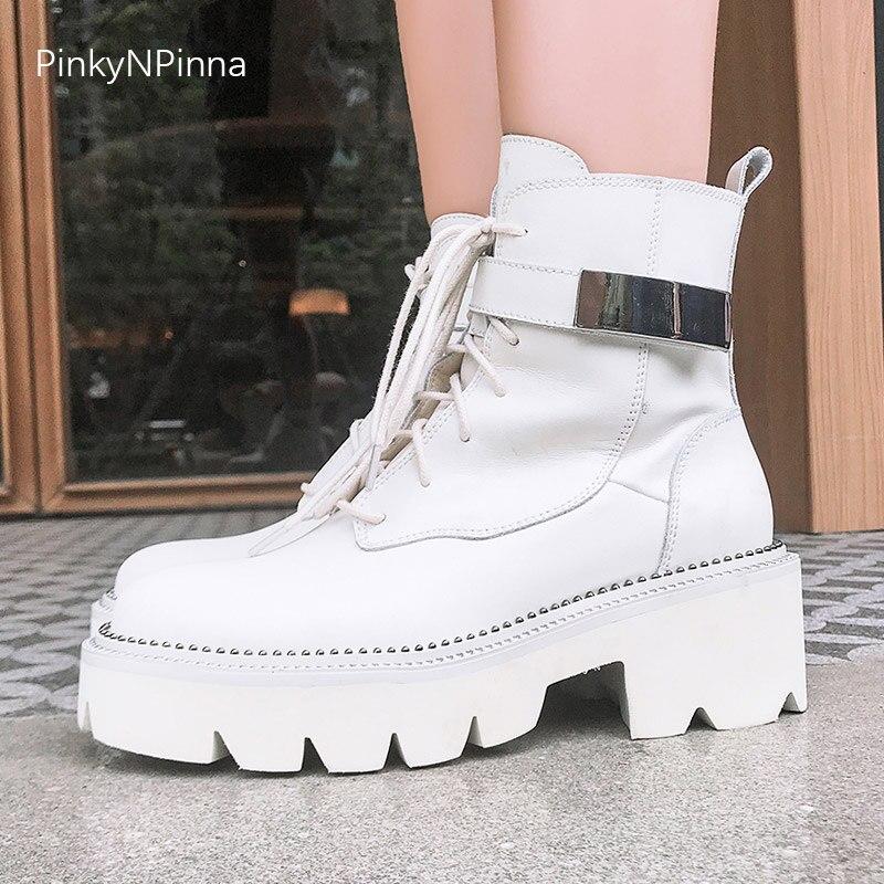 Mulheres Gothic punk street style couro tornozelo botas de plataforma botas brancas fivela metálica beads partido boate sapatos de inverno
