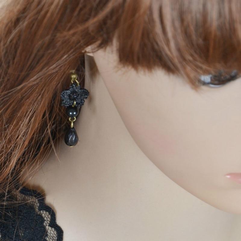 Женские серьги в стиле ретро, черные, модные, готические, кружевные, с цветами