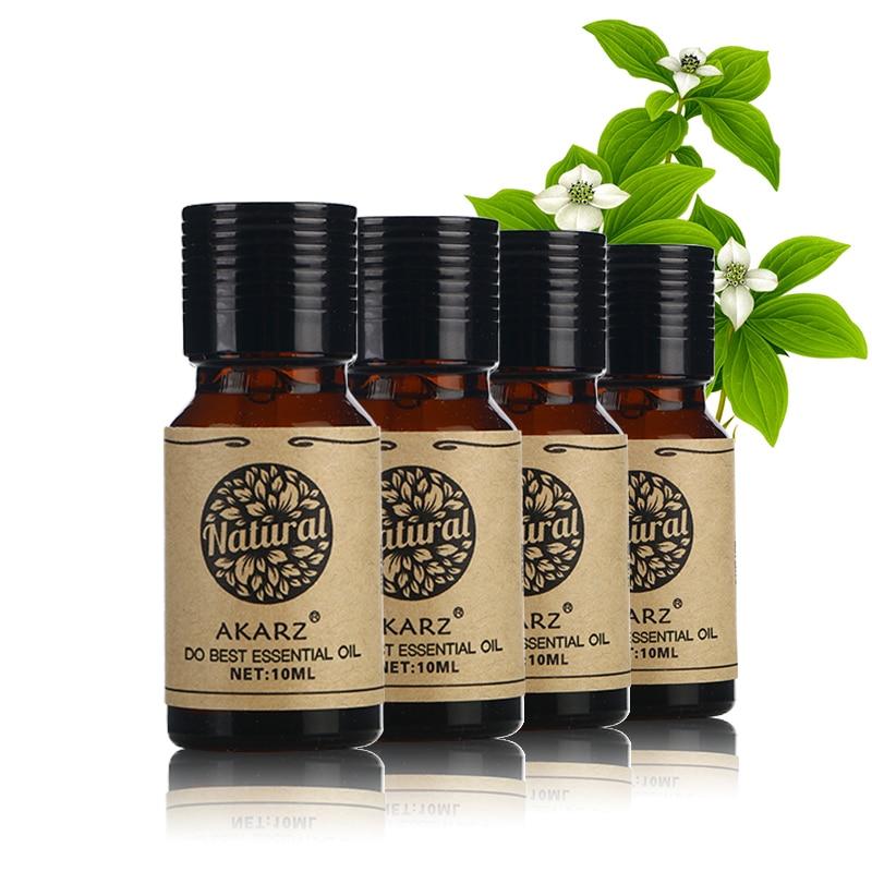 Akarz famosa marca sândalo limão grama amêndoa mandarin pacote de óleo essencial para aromaterapia, massagem, spa, banho 10ml * 4