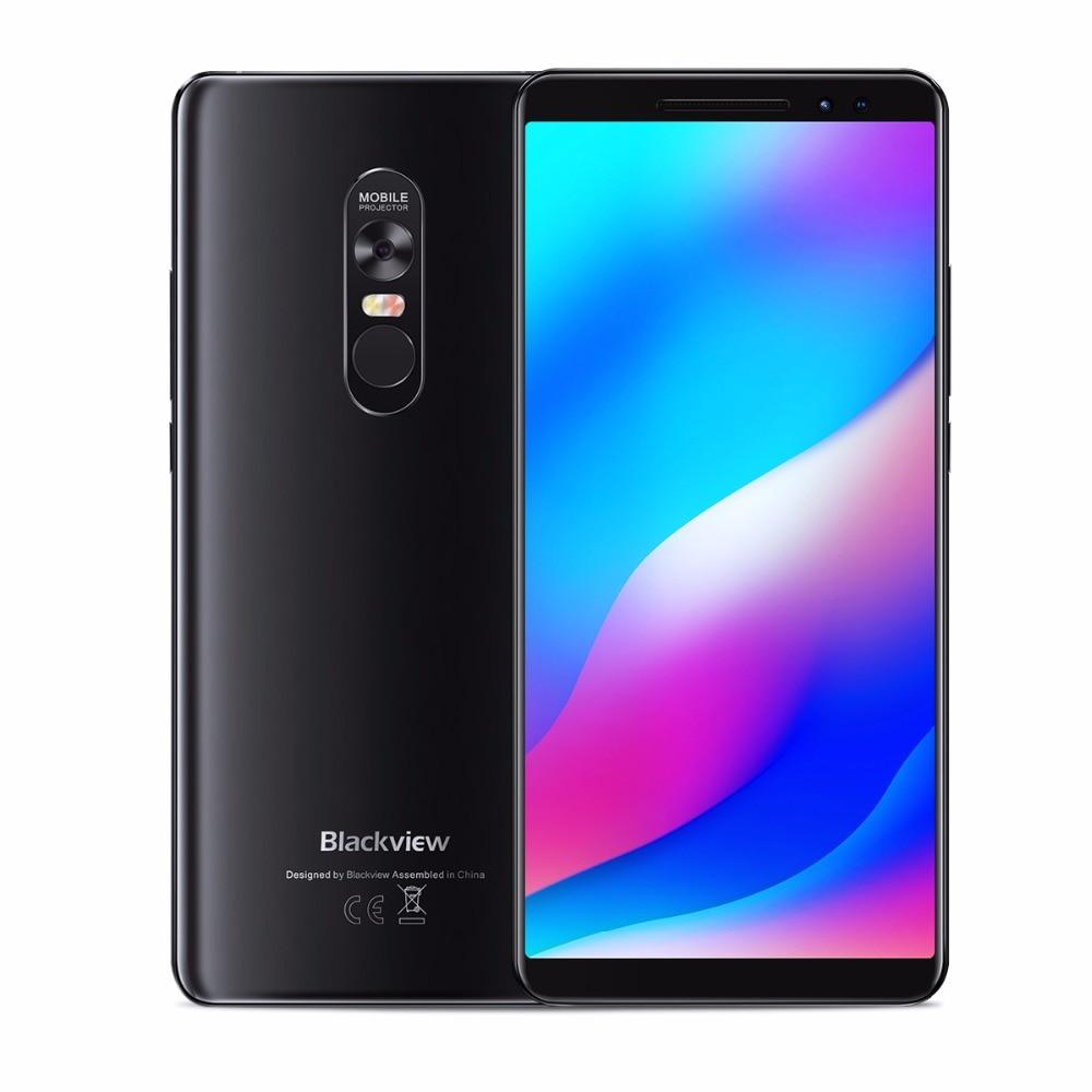 "Blackview max 1 smartphone 6 gb + 64 gb 6.01 ""tela 4680 mah mt6763t octa núcleo android 8.1 duplo sim telefone móvel nfc mini projetor"
