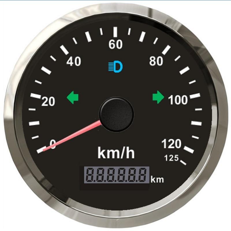 Velocímetro GPS para motocicleta de 85 MM, odómetro de 0-125 km/h, kilometraje, alarma de sobrevelocidad ajustable para Bulzzer
