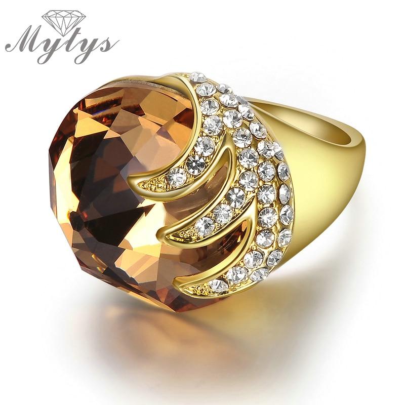 Mytys champanhe luxo anel forma espiral pavimentar definir cristal amarelo ouro gp cocktail anéis para mulher r410