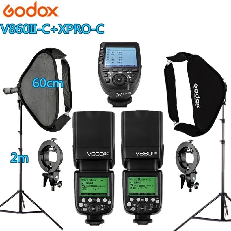2x V860IIC Godox Flash Speedlite + Xpro-C Gatilho kit Photo Studio 60*60 cm Softbox 2 S -tipo Titular 2 Kit de Luz Fotografia Estande