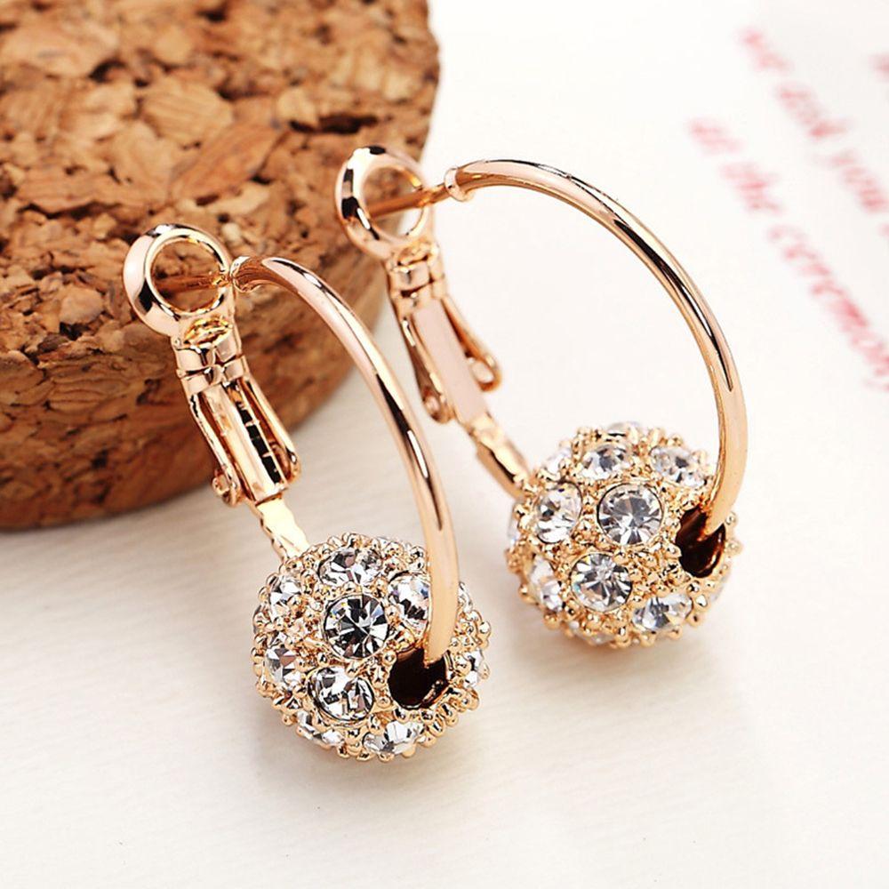 Fesyen bola kristal Austria anting-anting emas / perak berkualiti - Perhiasan fesyen - Foto 1
