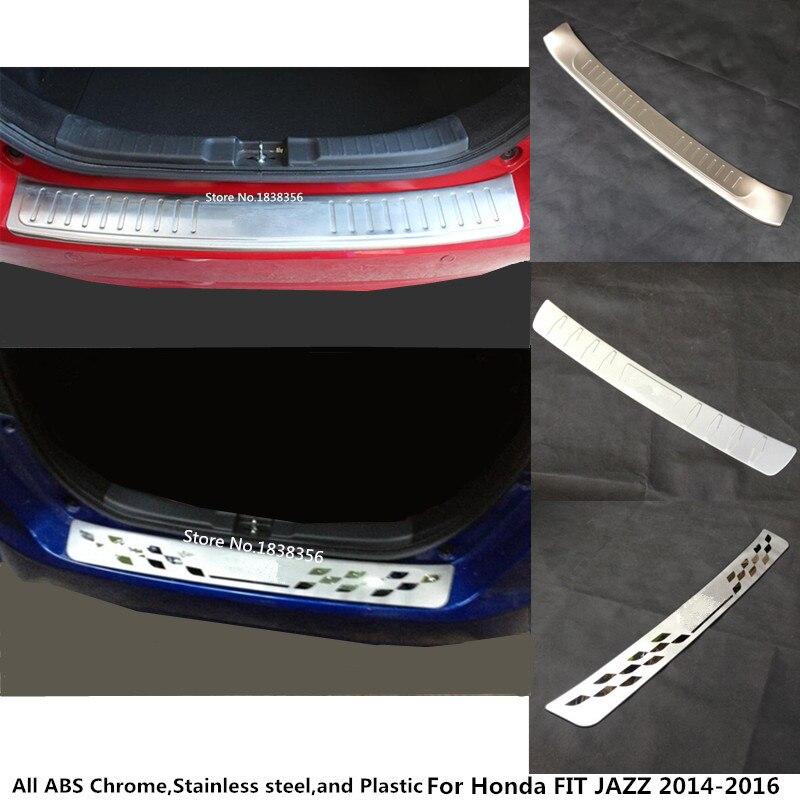 Revêtement de pare-chocs arrière externe Honda   Pour Honda FIT JAZZ 2014 2015 2016 style de voiture, protection du coffre, pédale de plaque en acier inoxydable 1 pièces