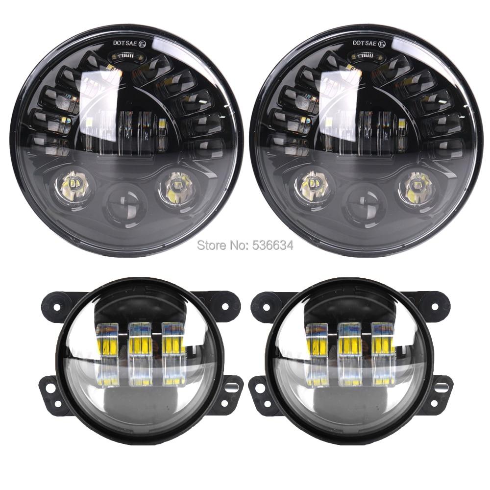 7-дюймовый светодиодный круглый проектор, фары ДХО с высоким/низким поворотом H4 авто + 4-дюймовые светодиодные противотуманные фары для Jeep ...