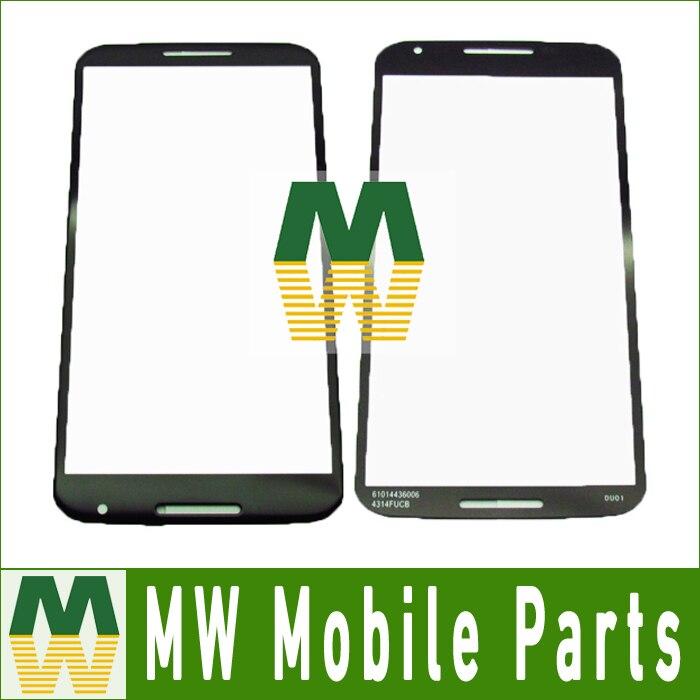 10 unids/lote Color negro Original para Motorola, Google, Nexus 6 Pantalla de vidrio exterior táctil de cristal