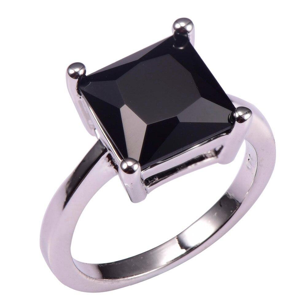 Classique Style Noir onyx 925 Sterling Argent De Mariage Partie Design De Mode romantique Anneau Taille 5 6 7 8 9 10 11 12 PR35