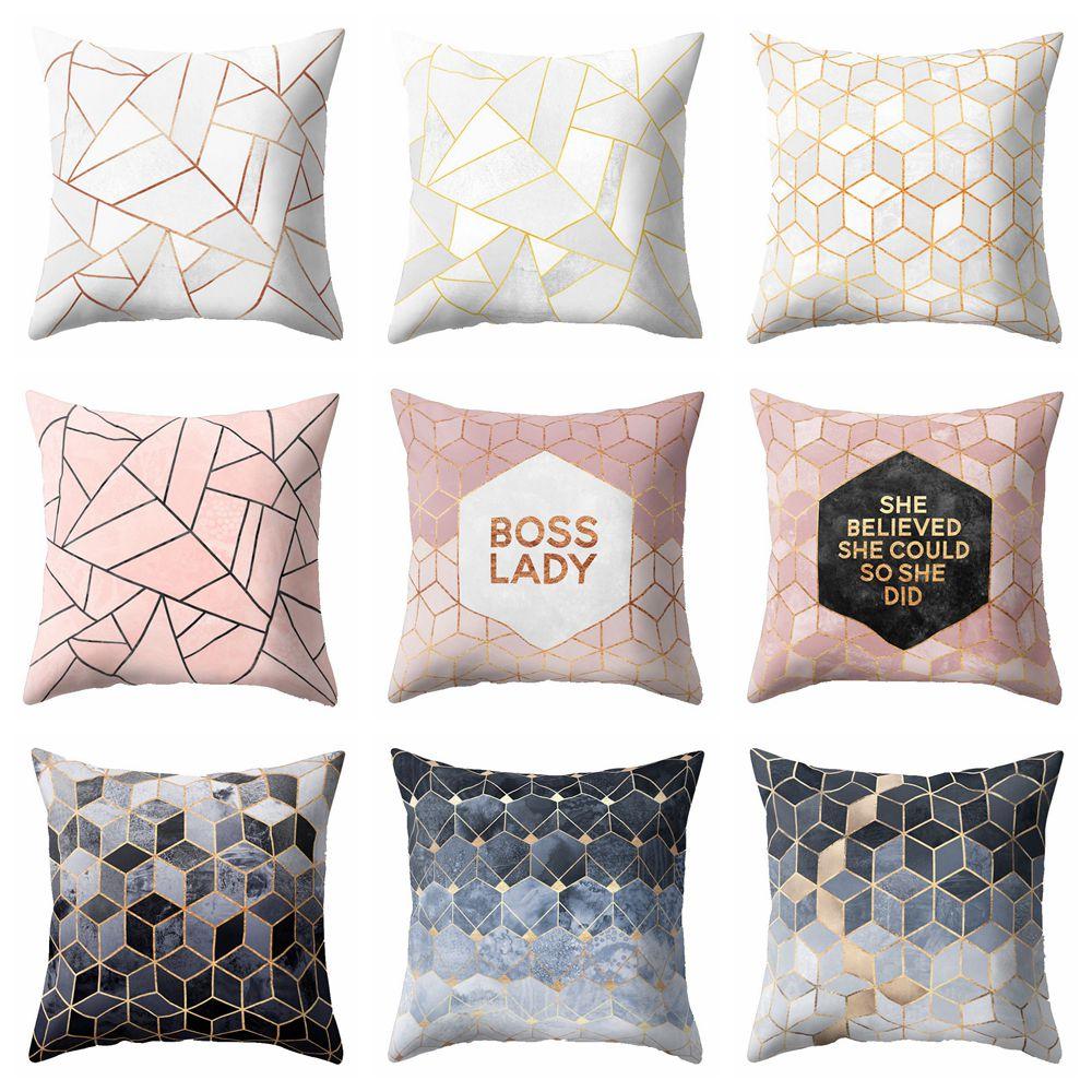 Funda de almohada de poliéster con diseño geométrico de estilo nórdico, funda decorativa para almohada en blanco y negro para sofá o coche