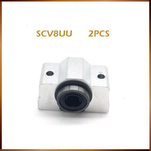 2 piezas SC8VUU SC8V SCV8UU SC10VUU SC12VUU bloque de rodamiento lineal DIY unidades de rodamiento deslizantes lineales CNC router eje de varillas lineales