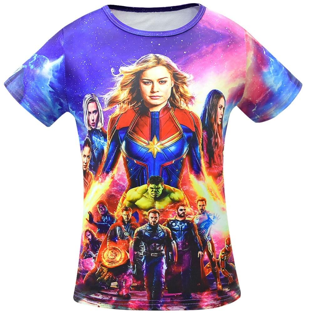 2019 Summer Anime Kids Girls Clothes Short Sleeve T Shirts for Boys Avengers Infinity War Pattern Movie Hero Star Cotton T-shirt