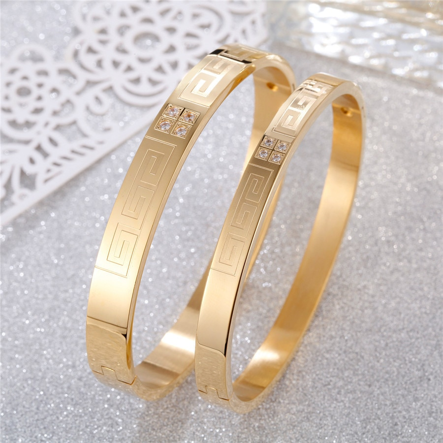 Trendy Stainless Steel Bracelet Bangle For Women Men Yellow Gold Rose Gold  Color Girl Lover Fashion Jewelry Accessory недорого