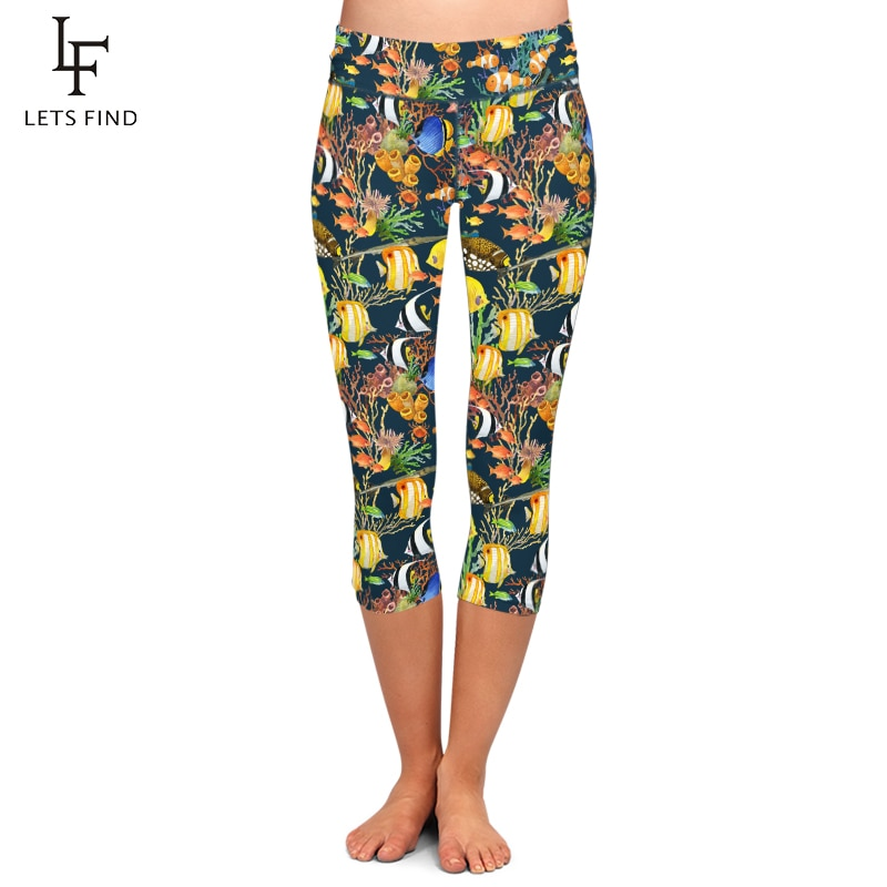 LETSFIND Fashion Women Leggings Animal Undersea World Print Summer New Capri Leggings High Waist Elastic Pants Hot Sale