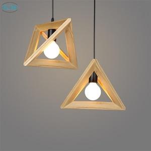 Nordic Creative Vintage Triangle Oak Wooden Led Pendant Lights for Restaurant Cafe study living room Decor Fixtures