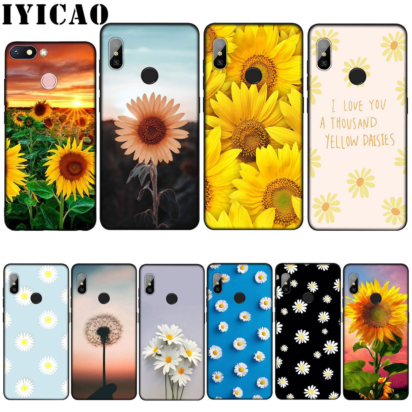 IYICAO flor amarilla pequeña Margarita girasol funda de silicona suave para Xiaomi mi 9 8 A2 Lite A1 6 pocofone f1 MAX 3 mi 9 mi 8 mi a2