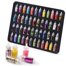 48 bouteilles colorées mélangées Art pour les ongles paillettes paillettes poudre pour les ongles Pigments 3d Ultra-mince autocollant flocons manucure décorations ensemble