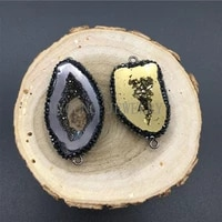 freeform crystal druzy geode slice connector pendant quartz titanium paved rhinestone edges for necklace women jewelry my1285