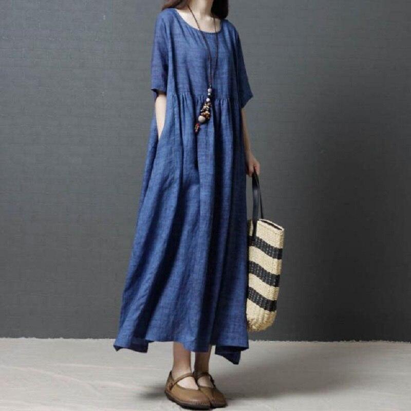 Nueva ropa de mujer de algodón y lino vestidos sólidos vestidos de mujer cuello redondo de manga corta ropa de verano ropa europea