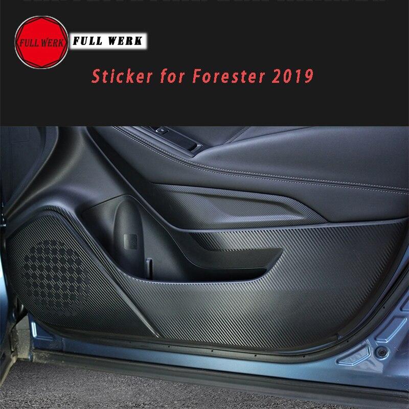 Textura de fibra de carbono 4 Uds. Cubierta protectora Anti Kick Sticker Interior de puerta para Subaru Forester 2019 accesorios interiores