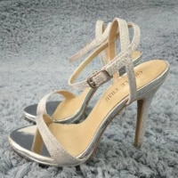 women stiletto thin high heel sandals sexy ankle strap open toe silver glitter fashion wedding party bridals lady shoe 0640asl a