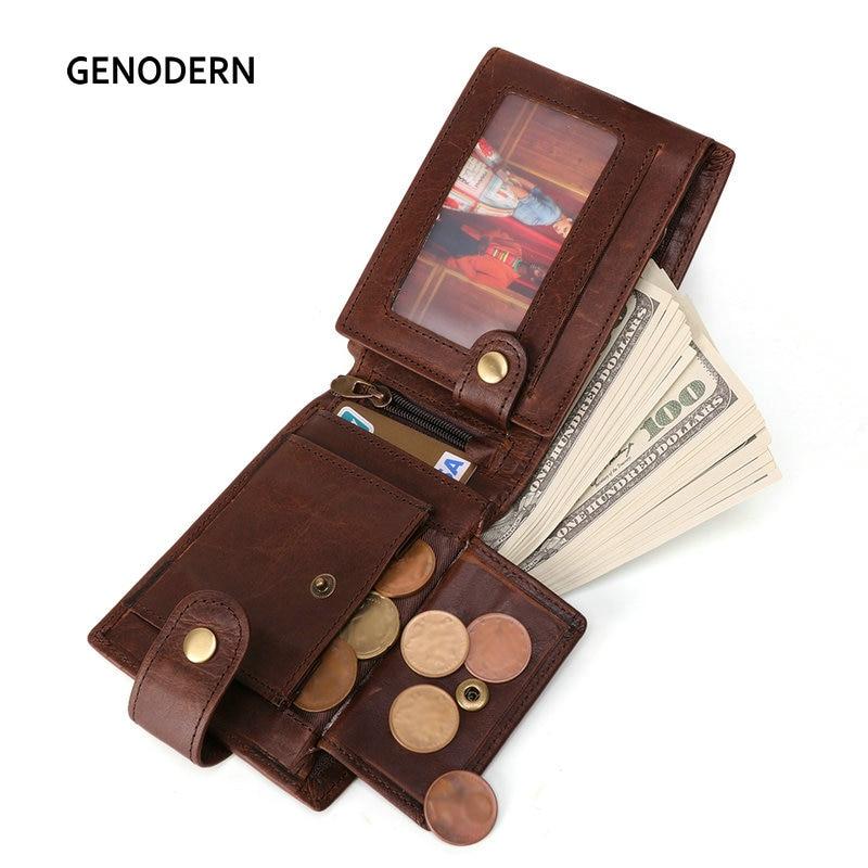 GENODERN nueva llegada Vintage RFID hombres carteras Hasp funcional Trifold cartera para hombres de gran capacidad bolso Masculino