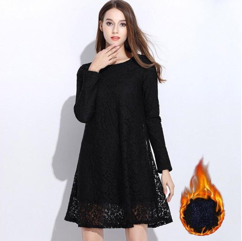 Frete grátis novo 2016 inverno feminino quente velo vestido de renda feminina manga longa plus size a line vestido elegante vestidos xxxxxl 6xl