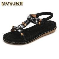 Женские сандалии mvvдукции, плоская подошва, богемный стиль, удобная пляжная обувь, большие размеры, лето 2019