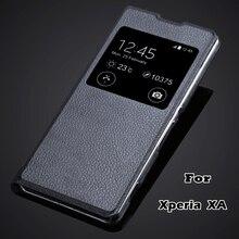 XA Fundas luxe mode téléphone sac peau pour sony Xperia XA F3111 & XA Dual F3112 F3113 vue fenêtre flip couverture pu étui en cuir