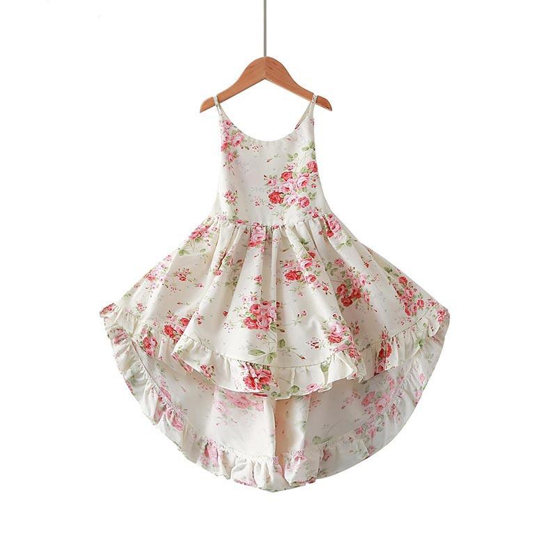 Verano bebé niñas vestido estampado Floral Correa diseño con espalda descubierta niños niño vestido de algodón sin mangas vestido de verano