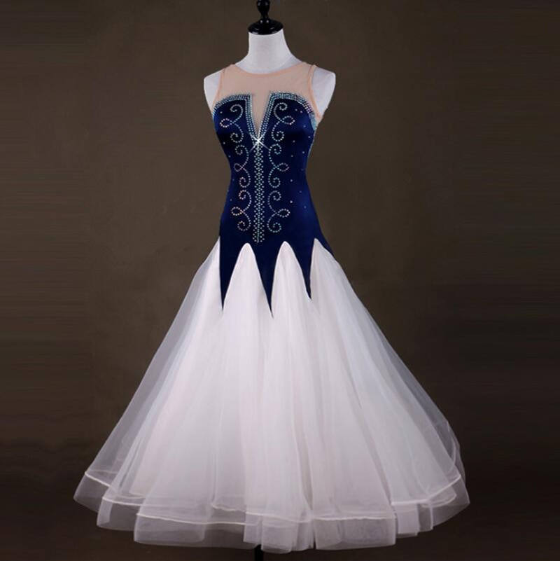فستان رقص التانجو ، زي رقص أبيض بدون أكمام ، زي مسابقة قاعة الرقص للنساء