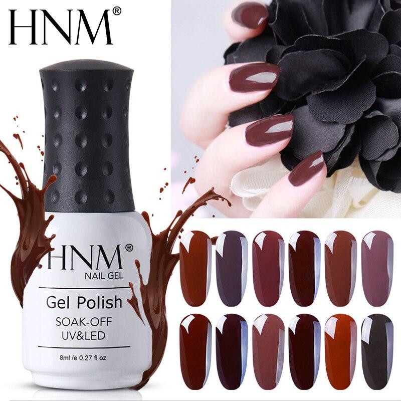 HNM 8ML marrón café Gel de esmalte de uñas de Gel UV soak esmalte Gel-off Semi permanente laca híbrido Gel tinta suerte esmalte GelLak Shilak