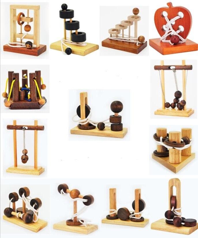 Schreibtisch Neuheit 3D Holz Seil Schleife Puzzle IQ Geist String Gehirn teaser Spiel für Erwachsene Kinder