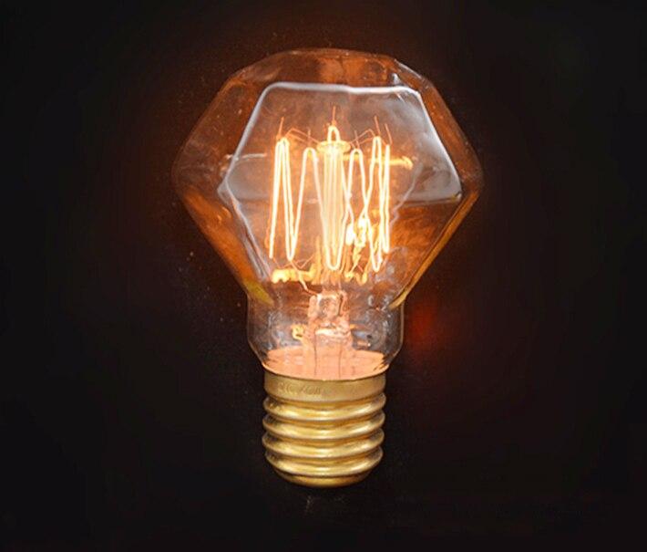40w E27 220v Vintage Edison Light Bulb Glass Diamond for Bar ,Coffee or Pendant Light