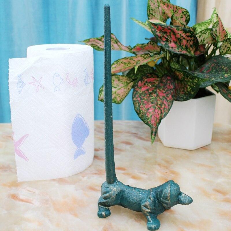 Servilletero de hierro fundido dorado y azul para perro, soporte de papel Vintage hecho a mano, figuritas de Metal sólido negro para perros, estante de papel de seda con desplazamiento de mesa