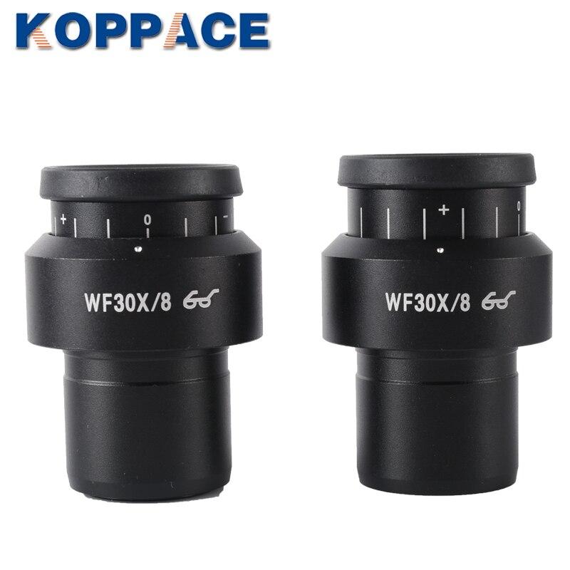 KOPPACE un par de lente ocular microscópico estéreo 2 uds WF30X/8 oculares de microscopio 30mm interfaz de amplio campo de ojo punto ocular